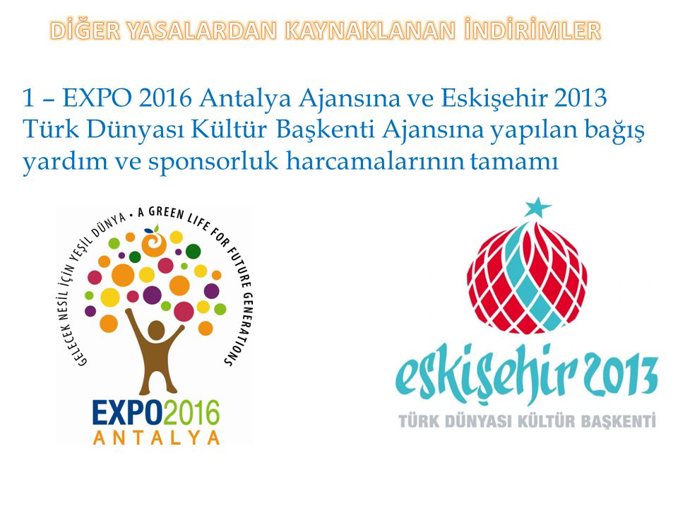 1 – EXPO 2016 Antalya Ajansına ve Eskişehir 2013 Türk Dünyası Kültür Başkenti Ajansına yapılan bağış yardım ve sponsorluk harcamalarının tamamı