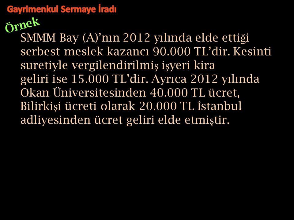SMMM Bay (A)'nın 2012 yılında elde etti ğ i serbest meslek kazancı 90.000 TL'dir.