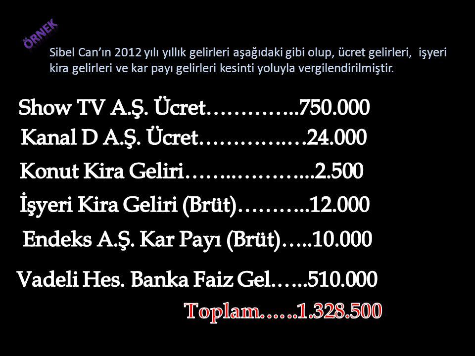 •Götürü Gider Yöntemi (Hakları kiraya verenler hariç) Sibel Can'ın 2012 yılı yıllık gelirleri aşağıdaki gibi olup, ücret gelirleri, işyeri kira gelirleri ve kar payı gelirleri kesinti yoluyla vergilendirilmiştir.