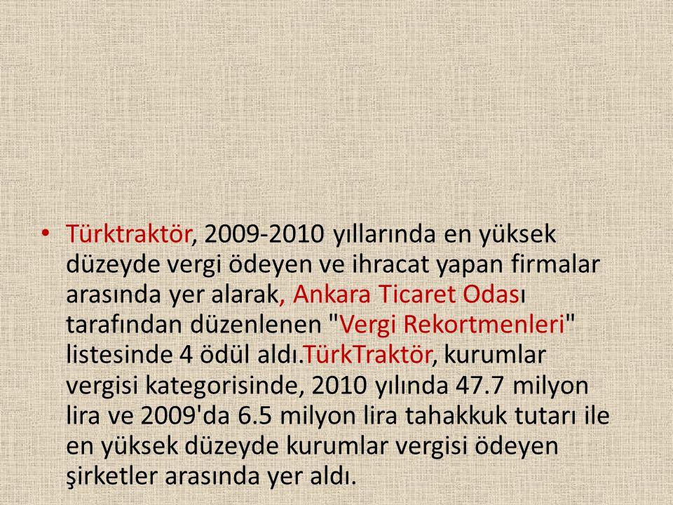 • Türktraktör, 2009-2010 yıllarında en yüksek düzeyde vergi ödeyen ve ihracat yapan firmalar arasında yer alarak, Ankara Ticaret Odası tarafından düze