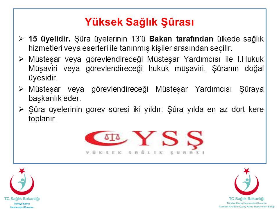 Yüksek Sağlık Şûrası  15 üyelidir. Şûra üyelerinin 13'ü Bakan tarafından ülkede sağlık hizmetleri veya eserleri ile tanınmış kişiler arasından seçili