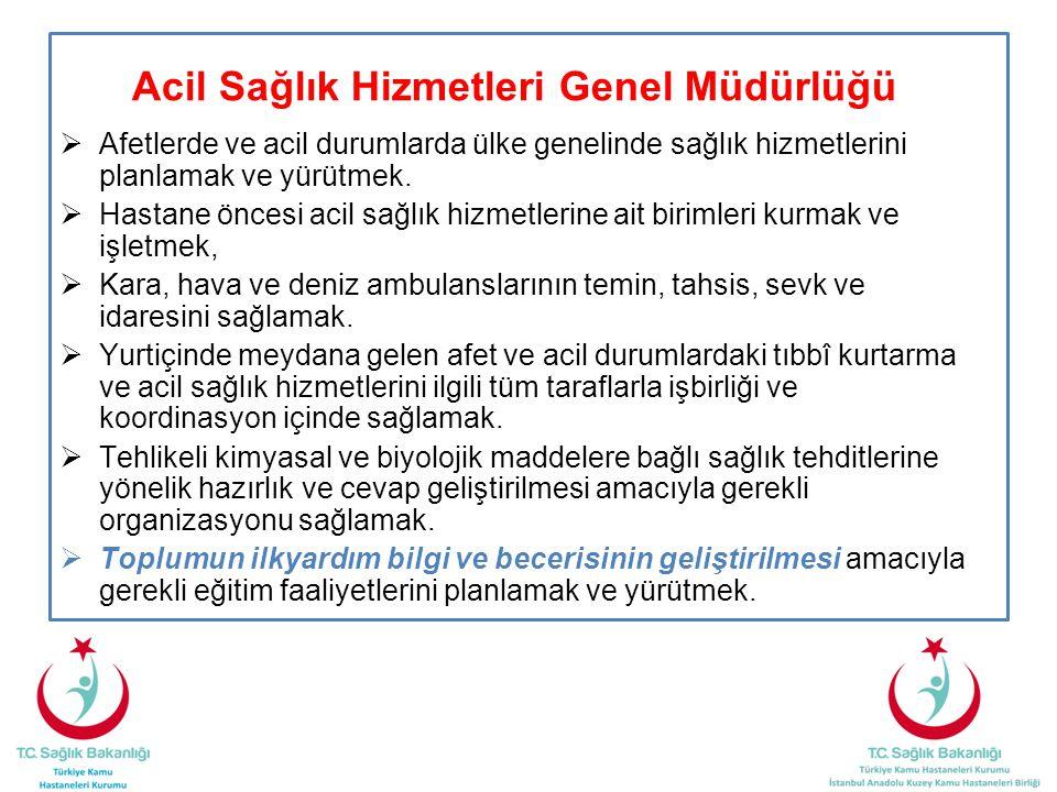 Acil Sağlık Hizmetleri Genel Müdürlüğü  Afetlerde ve acil durumlarda ülke genelinde sağlık hizmetlerini planlamak ve yürütmek.  Hastane öncesi acil