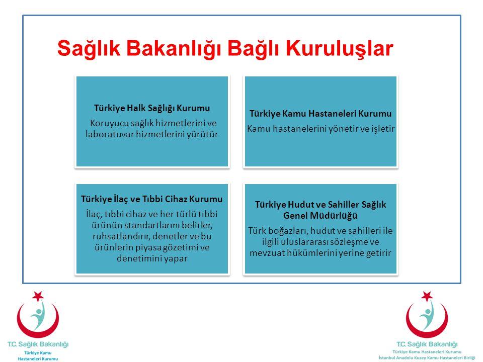 Sağlık Bakanlığı Bağlı Kuruluşlar Türkiye Halk Sağlığı Kurumu Koruyucu sağlık hizmetlerini ve laboratuvar hizmetlerini yürütür Türkiye Kamu Hastaneler