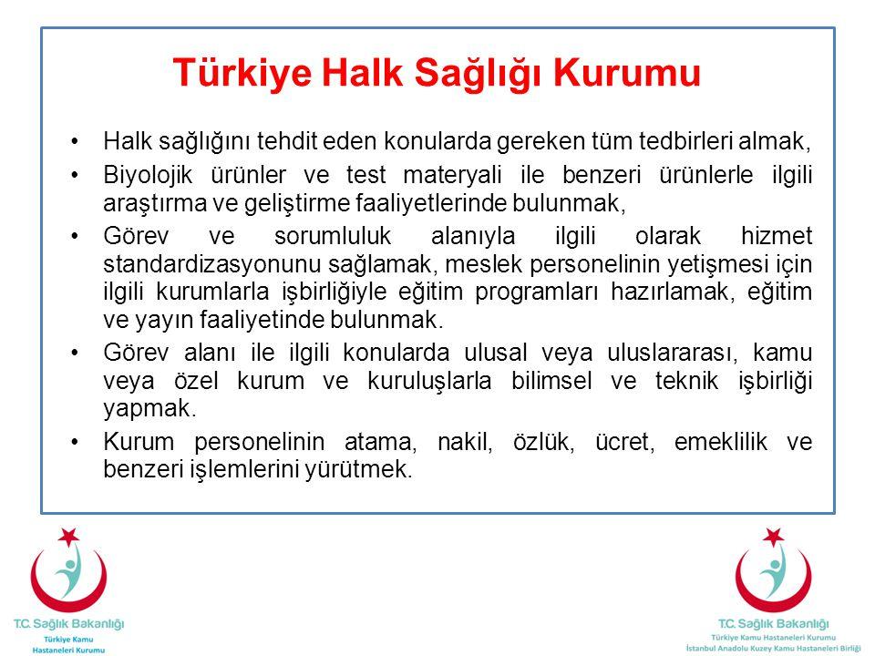 Türkiye Halk Sağlığı Kurumu •Halk sağlığını tehdit eden konularda gereken tüm tedbirleri almak, •Biyolojik ürünler ve test materyali ile benzeri ürünl