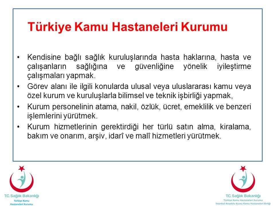 Türkiye Kamu Hastaneleri Kurumu •Kendisine bağlı sağlık kuruluşlarında hasta haklarına, hasta ve çalışanların sağlığına ve güvenliğine yönelik iyileşt