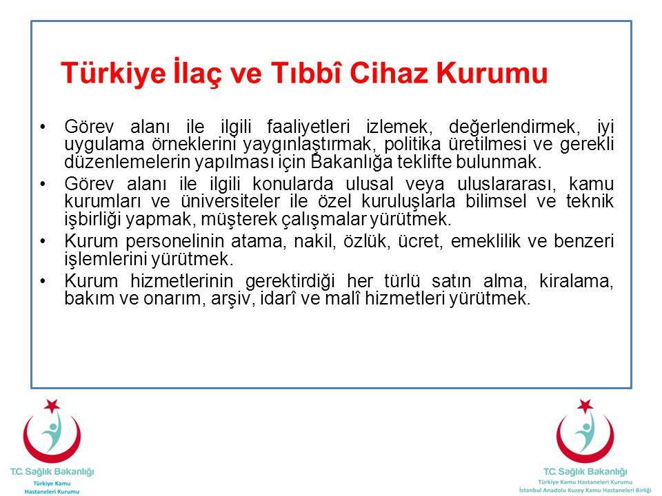 Türkiye İlaç ve Tıbbî Cihaz Kurumu •Görev alanı ile ilgili faaliyetleri izlemek, değerlendirmek, iyi uygulama örneklerini yaygınlaştırmak, politika ür