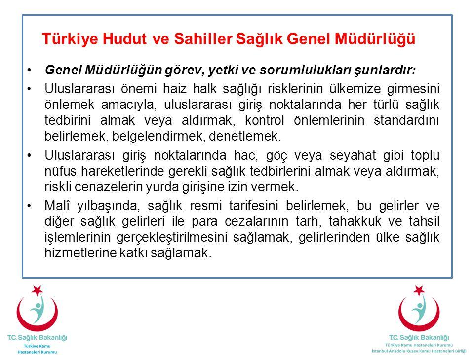Türkiye Hudut ve Sahiller Sağlık Genel Müdürlüğü •Genel Müdürlüğün görev, yetki ve sorumlulukları şunlardır: •Uluslararası önemi haiz halk sağlığı ris