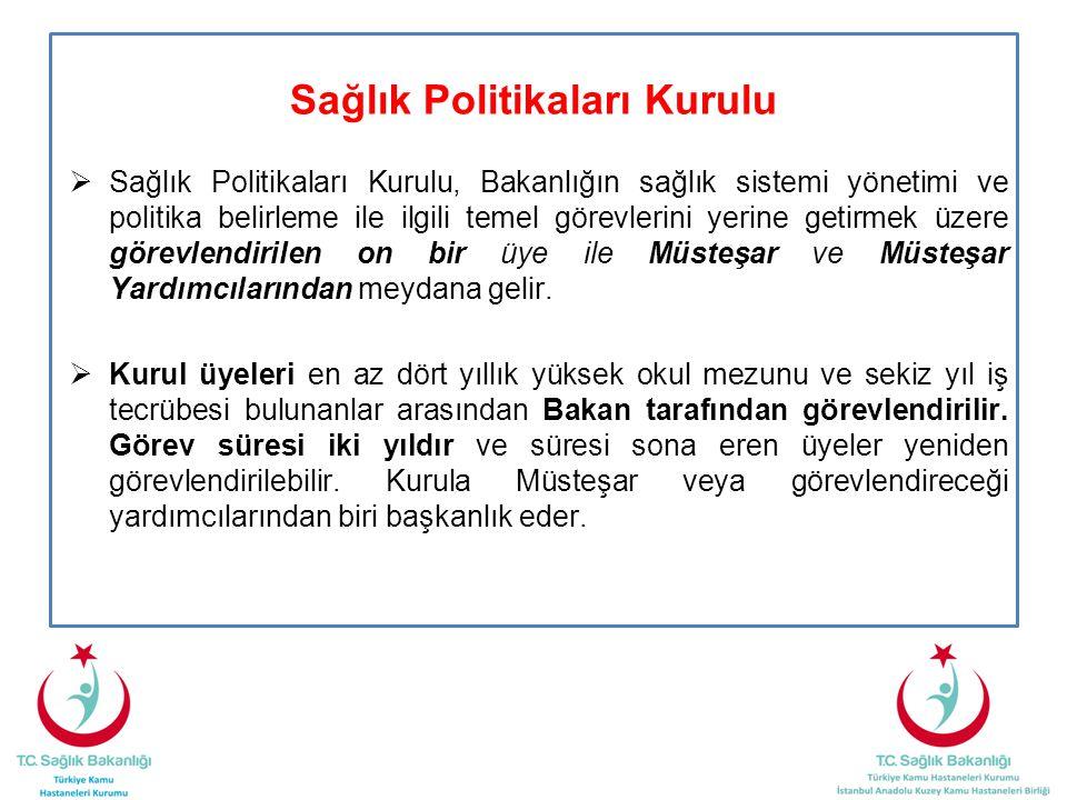 Sağlık Politikaları Kurulu  Sağlık Politikaları Kurulu, Bakanlığın sağlık sistemi yönetimi ve politika belirleme ile ilgili temel görevlerini yerine