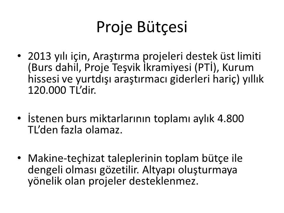 Proje Bütçesi • 2013 yılı için, Araştırma projeleri destek üst limiti (Burs dahil, Proje Teşvik İkramiyesi (PTİ), Kurum hissesi ve yurtdışı araştırmac