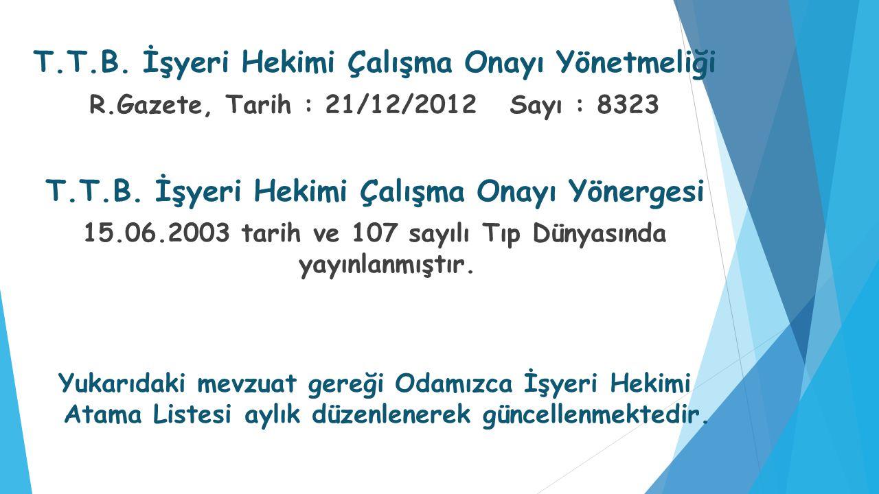 T.T.B. İşyeri Hekimi Çalışma Onayı Yönetmeliği R.Gazete, Tarih : 21/12/2012 Sayı : 8323 T.T.B. İşyeri Hekimi Çalışma Onayı Yönergesi 15.06.2003 tarih