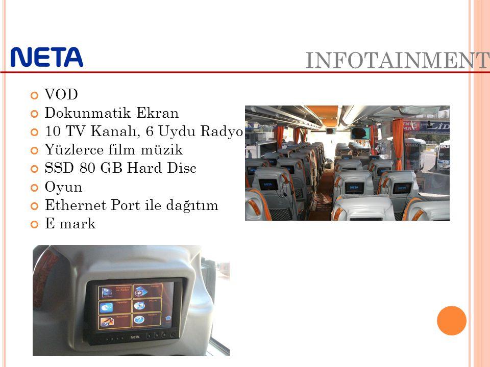 INFOTAINMENT VOD Dokunmatik Ekran 10 TV Kanalı, 6 Uydu Radyo Yüzlerce film müzik SSD 80 GB Hard Disc Oyun Ethernet Port ile dağıtım E mark