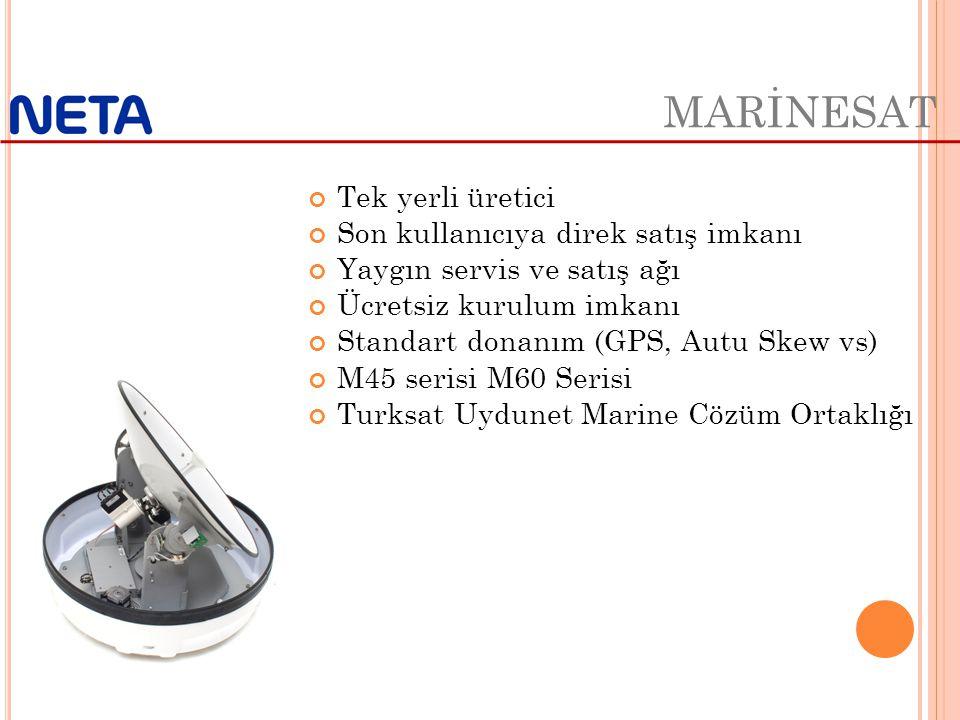 Tek yerli üretici Son kullanıcıya direk satış imkanı Yaygın servis ve satış ağı Ücretsiz kurulum imkanı Standart donanım (GPS, Autu Skew vs) M45 serisi M60 Serisi Turksat Uydunet Marine Cözüm Ortaklığı MARİNESAT