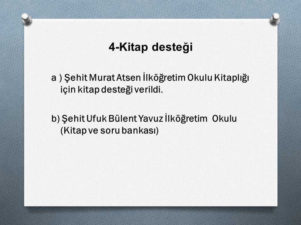 4-Kitap desteği a ) Şehit Murat Atsen İlköğretim Okulu Kitaplığı için kitap desteği verildi.