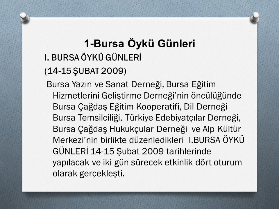 1-Bursa Öykü Günleri I.