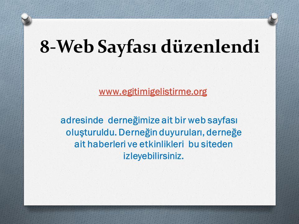 8-Web Sayfası düzenlendi www.egitimigelistirme.org adresinde derneğimize ait bir web sayfası oluşturuldu.