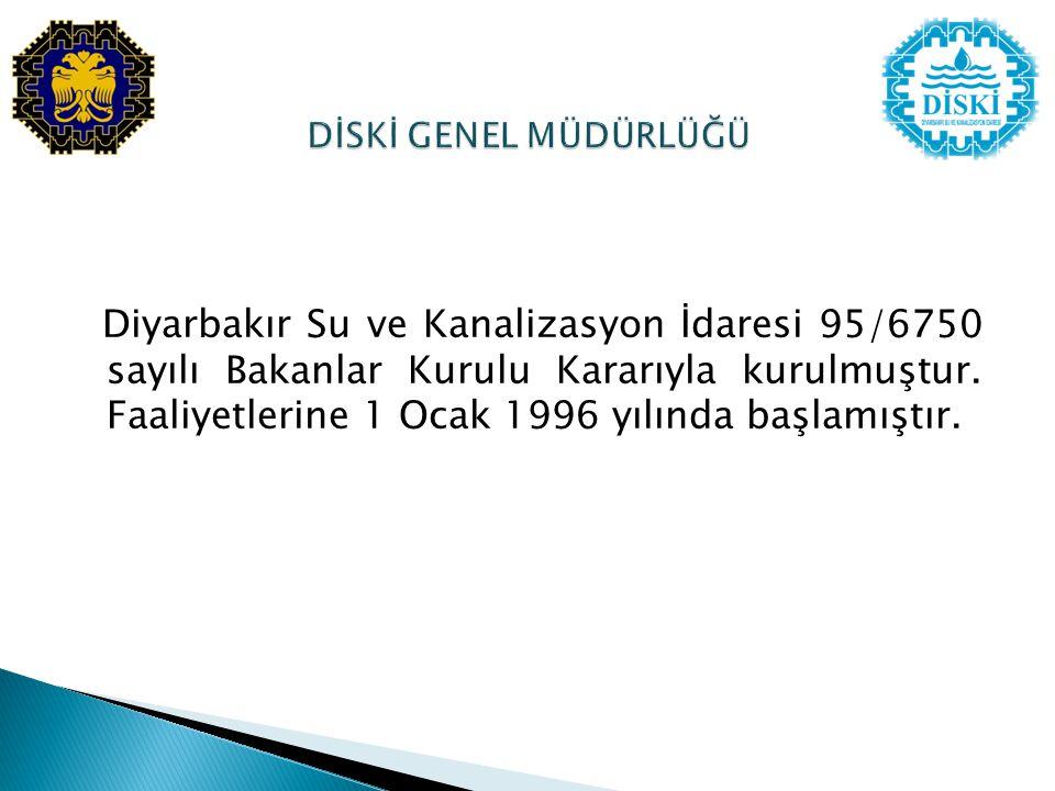 Diyarbakır Su ve Kanalizasyon İdaresi 95/6750 sayılı Bakanlar Kurulu Kararıyla kurulmuştur. Faaliyetlerine 1 Ocak 1996 yılında başlamıştır.