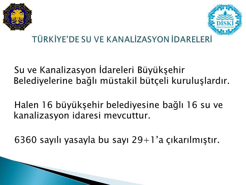 Su ve Kanalizasyon İdareleri Büyükşehir Belediyelerine bağlı müstakil bütçeli kuruluşlardır.