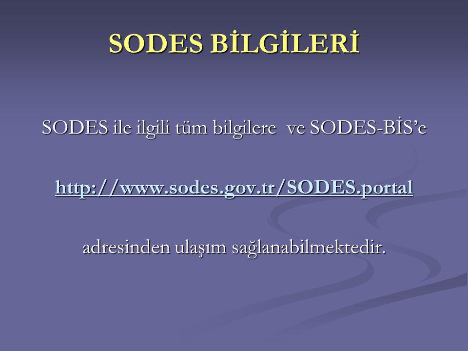 SODES BİLGİLERİ SODES ile ilgili tüm bilgilere ve SODES-BİS'e http://www.sodes.gov.tr/SODES.portal adresinden ulaşım sağlanabilmektedir.