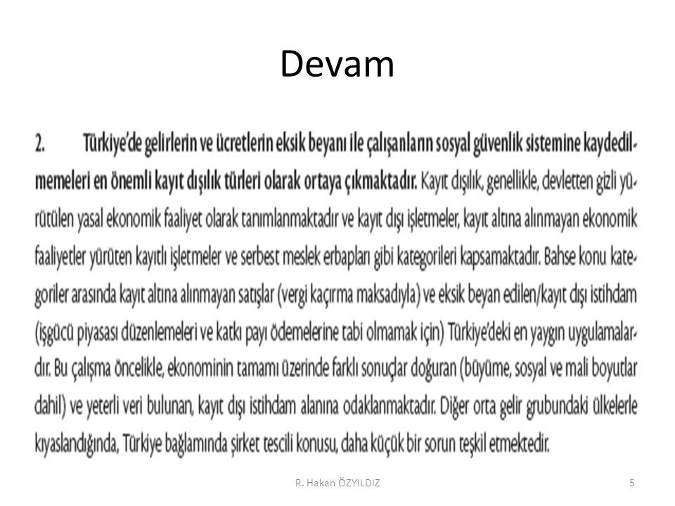 Enflasyonla mücadelede kayıtdışılık R. Hakan ÖZYILDIZ56