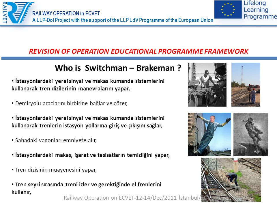 12 REVISION OF OPERATION EDUCATIONAL PROGRAMME FRAMEWORK Who is Switchman – Brakeman .