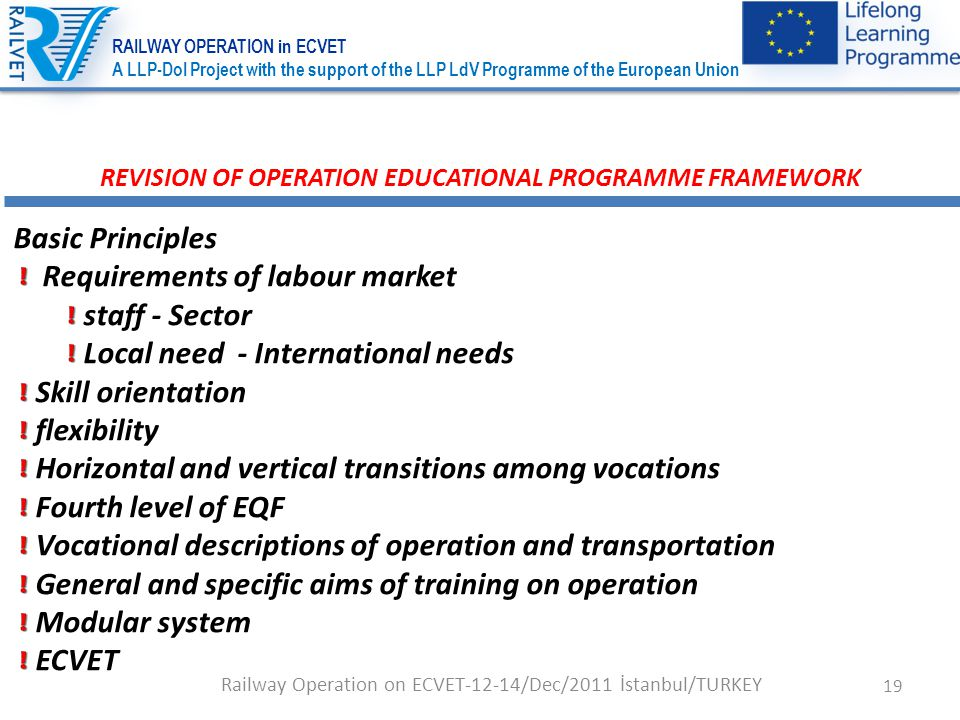 19 REVISION OF OPERATION EDUCATIONAL PROGRAMME FRAMEWORK Basic Principles Requirements of labour market staff - Sector Local need - International needs Skill orientation flexibility Horizontal and vertical transitions among vocations Fourth level of EQF Vocational descriptions of operation and transportation General and specific aims of training on operation Modular system ECVET Railway Operation on ECVET-12-14/Dec/2011 İstanbul/TURKEY RAILWAY OPERATION in ECVET A LLP-DoI Project with the support of the LLP LdV Programme of the European Union