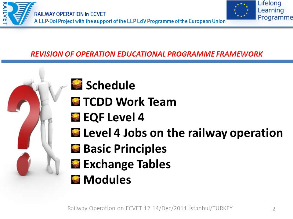 2 Railway Operation on ECVET-12-14/Dec/2011 İstanbul/TURKEY REVISION OF OPERATION EDUCATIONAL PROGRAMME FRAMEWORK Schedule TCDD Work Team EQF Level 4 Level 4 Jobs on the railway operation Basic Principles Exchange Tables Modules RAILWAY OPERATION in ECVET A LLP-DoI Project with the support of the LLP LdV Programme of the European Union