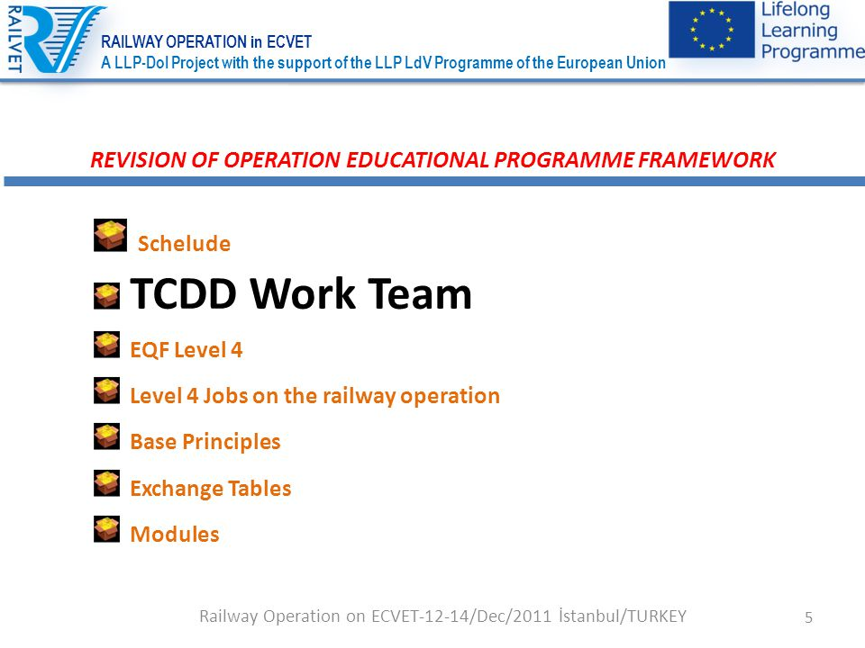 26 REVISION OF OPERATION EDUCATIONAL PROGRAMME FRAMEWORK Schedule TCDD Work Team EQF Level 4 Level 4 Jobs on the railway operation Basic Principles Exchange Tables Modules Railway Operation on ECVET-12-14/Dec/2011 İstanbul/TURKEY RAILWAY OPERATION in ECVET A LLP-DoI Project with the support of the LLP LdV Programme of the European Union