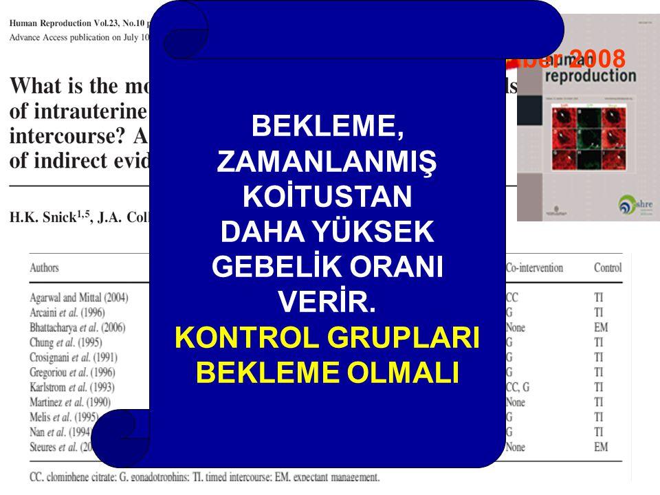 Volume 23, Number 10, October 2008 BEKLEME, ZAMANLANMIŞ KOİTUSTAN DAHA YÜKSEK GEBELİK ORANI VERİR.