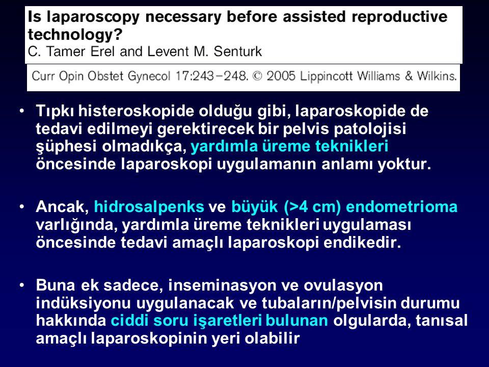 •Tıpkı histeroskopide olduğu gibi, laparoskopide de tedavi edilmeyi gerektirecek bir pelvis patolojisi şüphesi olmadıkça, yardımla üreme teknikleri öncesinde laparoskopi uygulamanın anlamı yoktur.