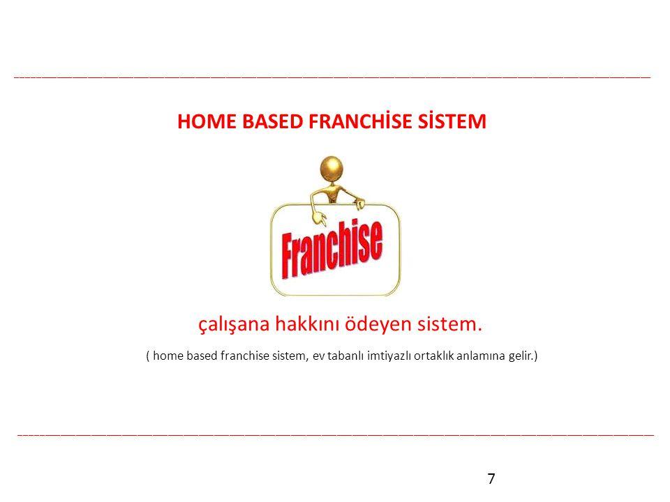7 HOME BASED FRANCHİSE SİSTEM çalışana hakkını ödeyen sistem.