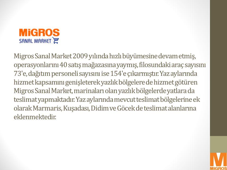 Migros Sanal Market 2009 yılında hızlı büyümesine devam etmiş, operasyonlarını 40 satış mağazasına yaymış, filosundaki araç sayısını 73'e, dağıtım per