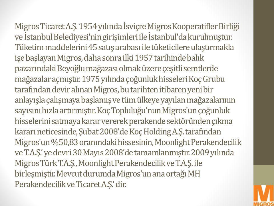 Migros Ticaret A.Ş. 1954 yılında İsviçre Migros Kooperatifler Birliği ve İstanbul Belediyesi'nin girişimleri ile İstanbul'da kurulmuştur. Tüketim madd