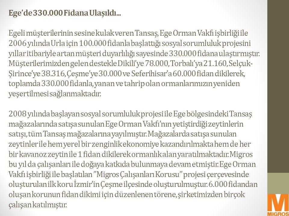 Ege'de 330.000 Fidana Ulaşıldı... Egeli müşterilerinin sesine kulak veren Tansaş, Ege Orman Vakfı işbirliği ile 2006 yılında Urla için 100.000 fidanla
