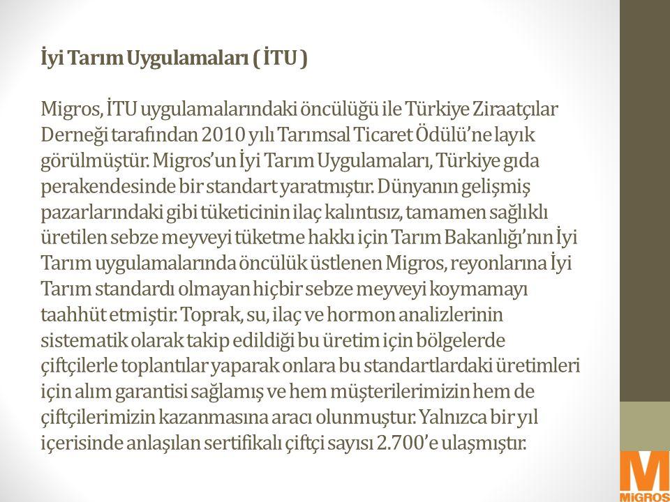 İyi Tarım Uygulamaları ( İTU ) Migros, İTU uygulamalarındaki öncülüğü ile Türkiye Ziraatçılar Derneği tarafından 2010 yılı Tarımsal Ticaret Ödülü'ne l