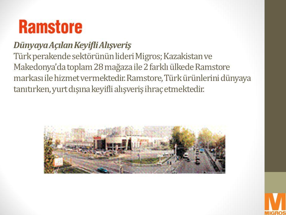 Dünyaya Açılan Keyifli Alışveriş Türk perakende sektörünün lideri Migros; Kazakistan ve Makedonya'da toplam 28 mağaza ile 2 farklı ülkede Ramstore mar