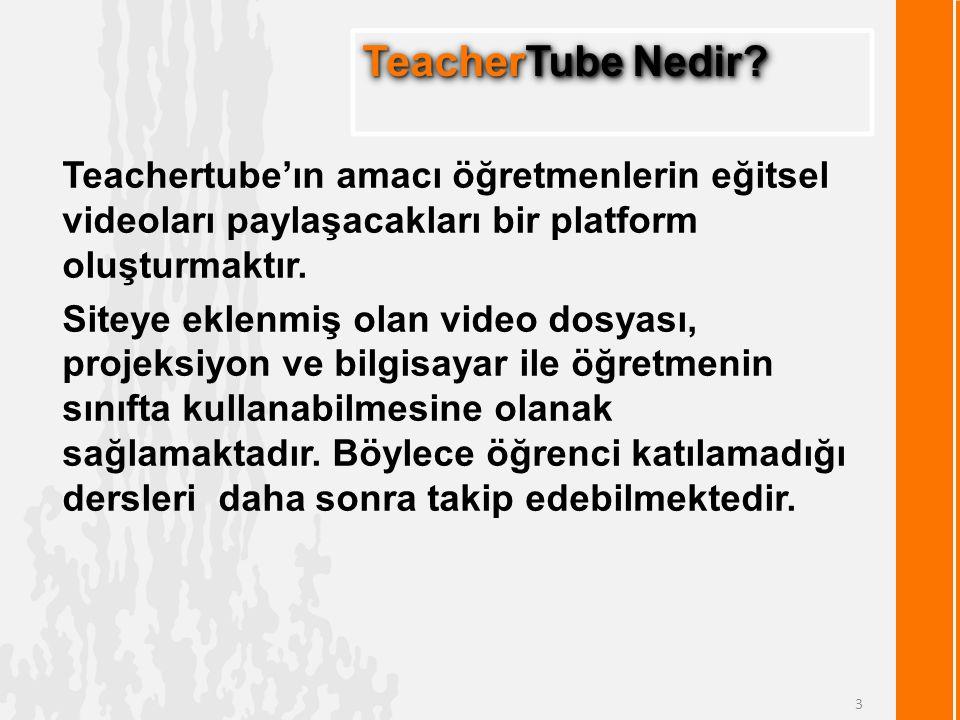 Teachertube'ın amacı öğretmenlerin eğitsel videoları paylaşacakları bir platform oluşturmaktır.