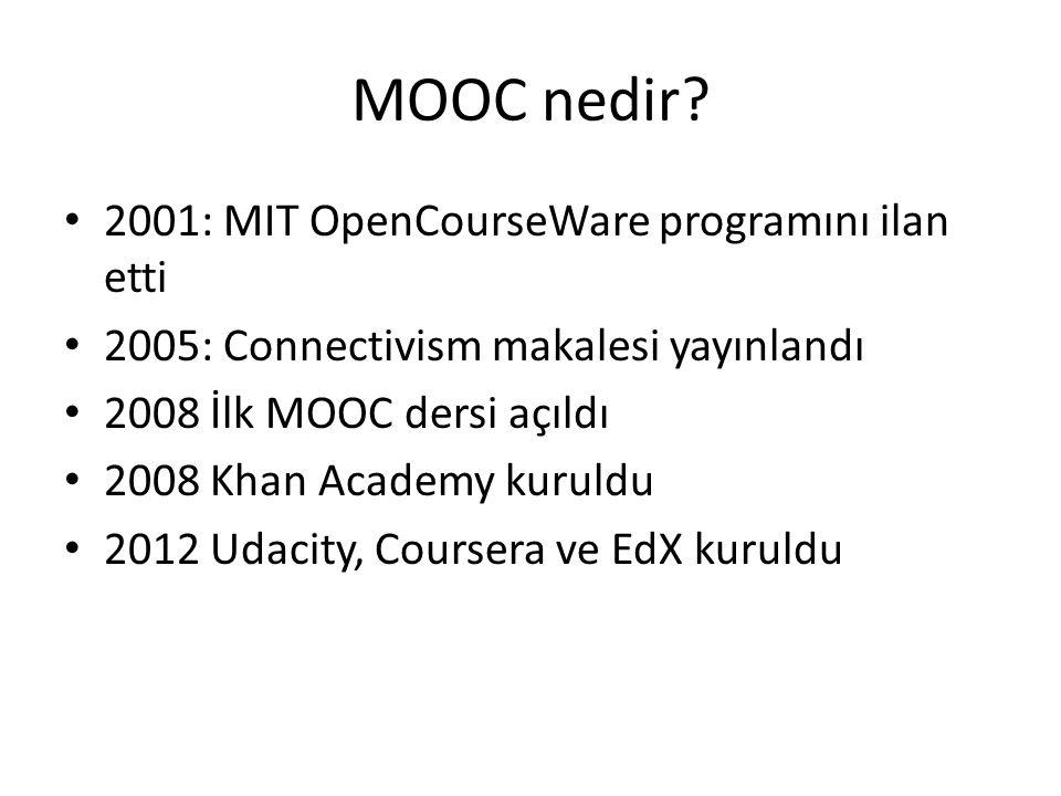 MOOC nedir? • 2001: MIT OpenCourseWare programını ilan etti • 2005: Connectivism makalesi yayınlandı • 2008 İlk MOOC dersi açıldı • 2008 Khan Academy