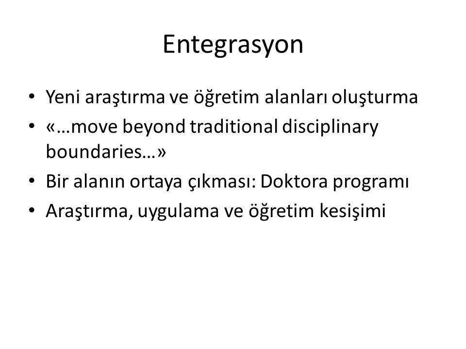 Entegrasyon • Yeni araştırma ve öğretim alanları oluşturma • «…move beyond traditional disciplinary boundaries…» • Bir alanın ortaya çıkması: Doktora