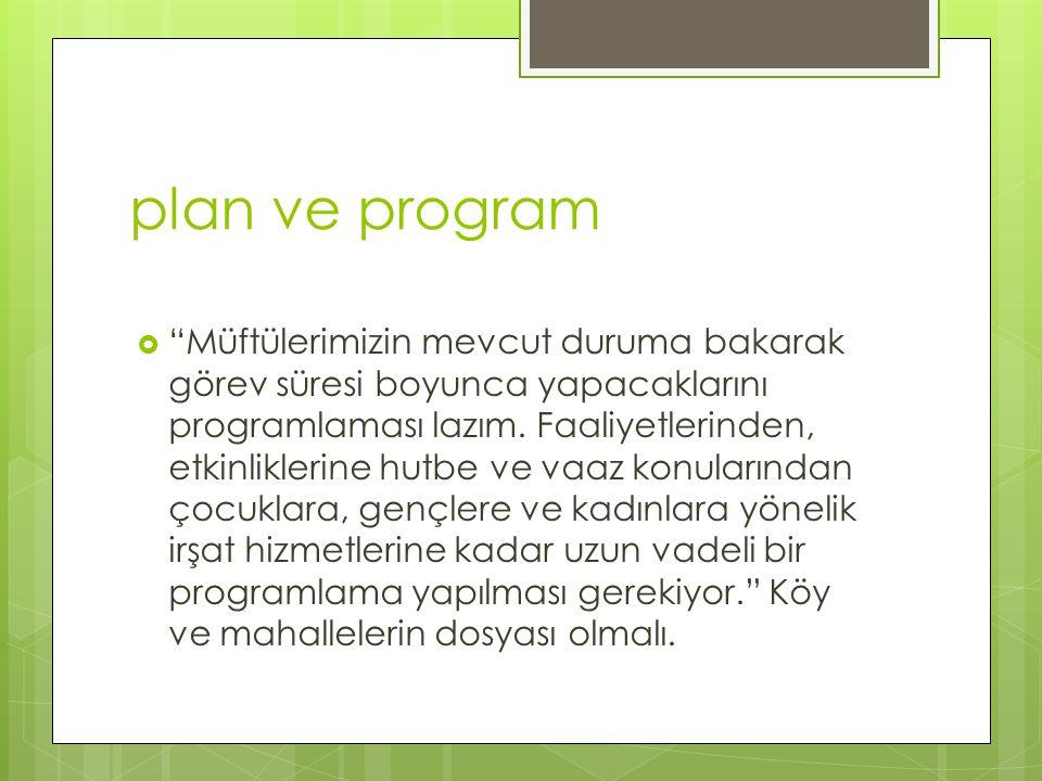 """plan ve program  """"Müftülerimizin mevcut duruma bakarak görev süresi boyunca yapacaklarını programlaması lazım. Faaliyetlerinden, etkinliklerine hutbe"""