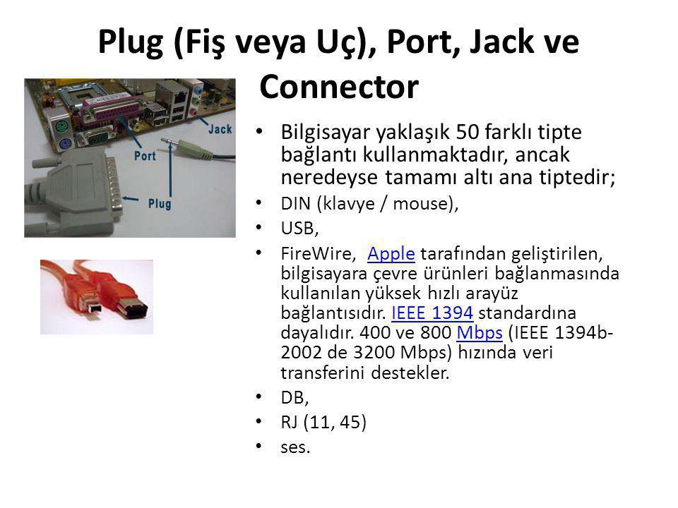 Plug (Fiş veya Uç), Port, Jack ve Connector • Bilgisayar yaklaşık 50 farklı tipte bağlantı kullanmaktadır, ancak neredeyse tamamı altı ana tiptedir; •