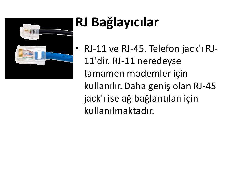 RJ Bağlayıcılar • RJ-11 ve RJ-45. Telefon jack'ı RJ- 11'dir. RJ-11 neredeyse tamamen modemler için kullanılır. Daha geniş olan RJ-45 jack'ı ise ağ bağ