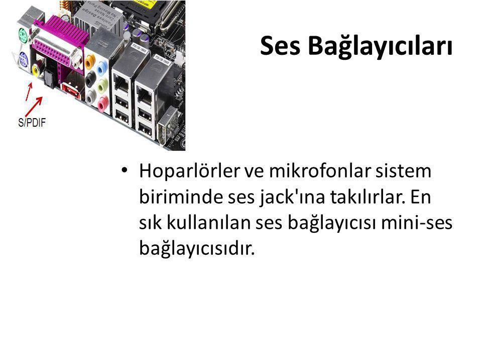 Ses Bağlayıcıları • Hoparlörler ve mikrofonlar sistem biriminde ses jack'ına takılırlar. En sık kullanılan ses bağlayıcısı mini-ses bağlayıcısıdır.