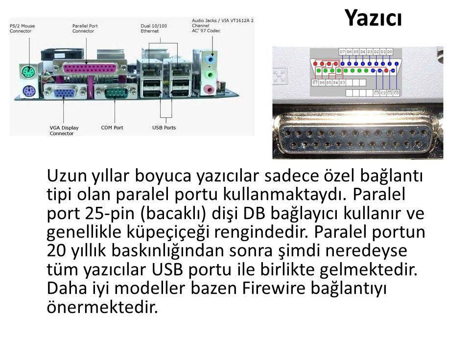 Yazıcı Uzun yıllar boyuca yazıcılar sadece özel bağlantı tipi olan paralel portu kullanmaktaydı. Paralel port 25-pin (bacaklı) dişi DB bağlayıcı kulla
