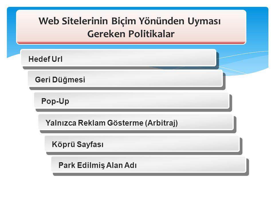 Hedef Url Geri Düğmesi Pop-Up Yalnızca Reklam Gösterme (Arbitraj) Köprü Sayfası Park Edilmiş Alan Adı Web Sitelerinin Biçim Yönünden Uyması Gereken Po