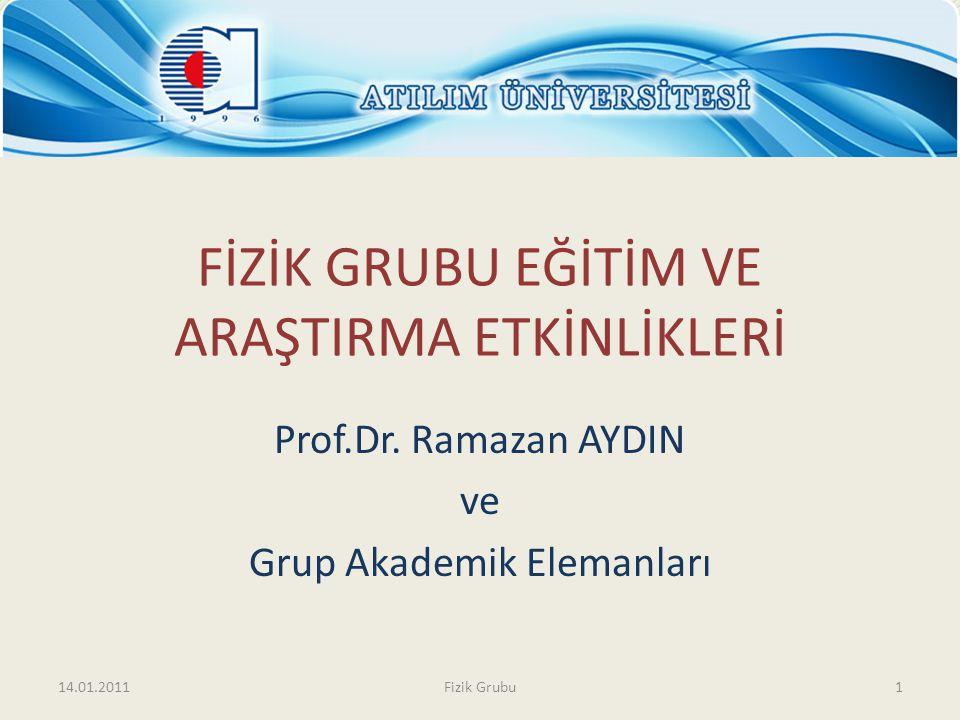 FİZİK GRUBU EĞİTİM VE ARAŞTIRMA ETKİNLİKLERİ Prof.Dr. Ramazan AYDIN ve Grup Akademik Elemanları 14.01.20111Fizik Grubu
