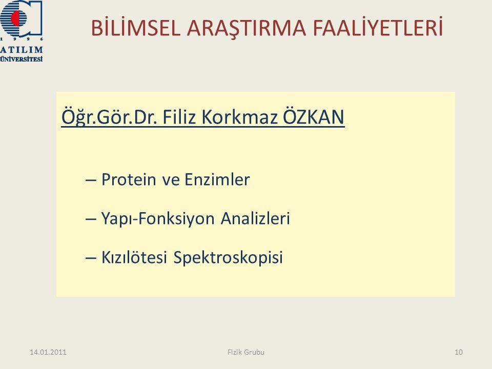 BİLİMSEL ARAŞTIRMA FAALİYETLERİ Öğr.Gör.Dr. Filiz Korkmaz ÖZKAN – Protein ve Enzimler – Yapı-Fonksiyon Analizleri – Kızılötesi Spektroskopisi 14.01.20