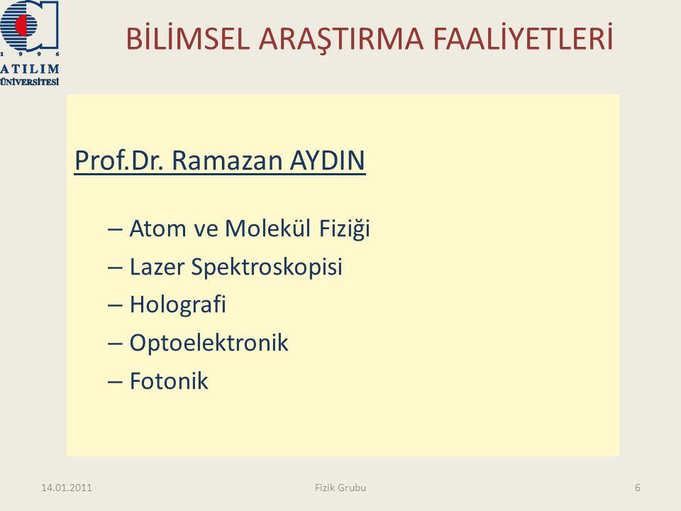 BİLİMSEL ARAŞTIRMA FAALİYETLERİ Prof.Dr. Ramazan AYDIN – Atom ve Molekül Fiziği – Lazer Spektroskopisi – Holografi – Optoelektronik – Fotonik 14.01.20