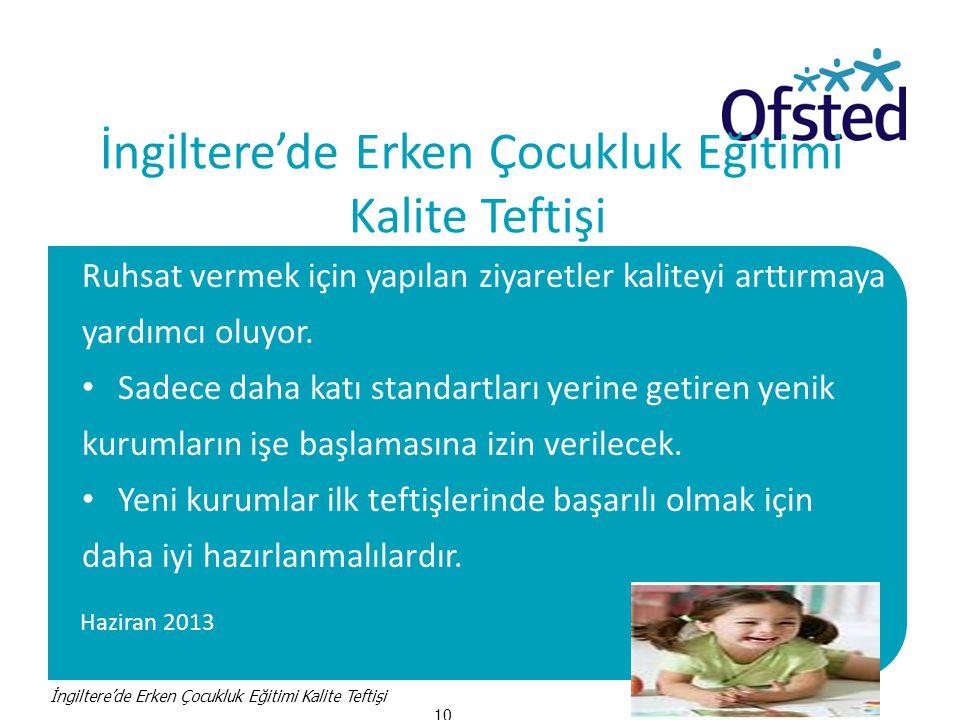 Haziran 2013 İngiltere'de Erken Çocukluk Eğitimi Kalite Teftişi Ruhsat vermek için yapılan ziyaretler kaliteyi arttırmaya yardımcı oluyor.