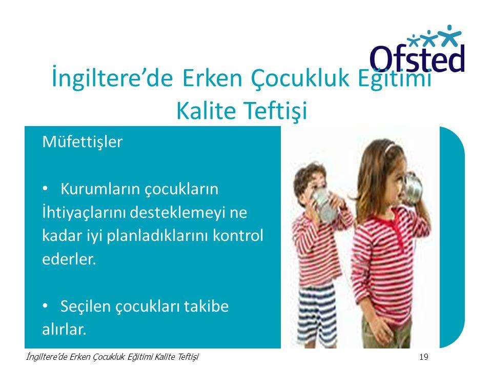 İngiltere'de Erken Çocukluk Eğitimi Kalite Teftişi Müfettişler • Kurumların çocukların İhtiyaçlarını desteklemeyi ne kadar iyi planladıklarını kontrol ederler.