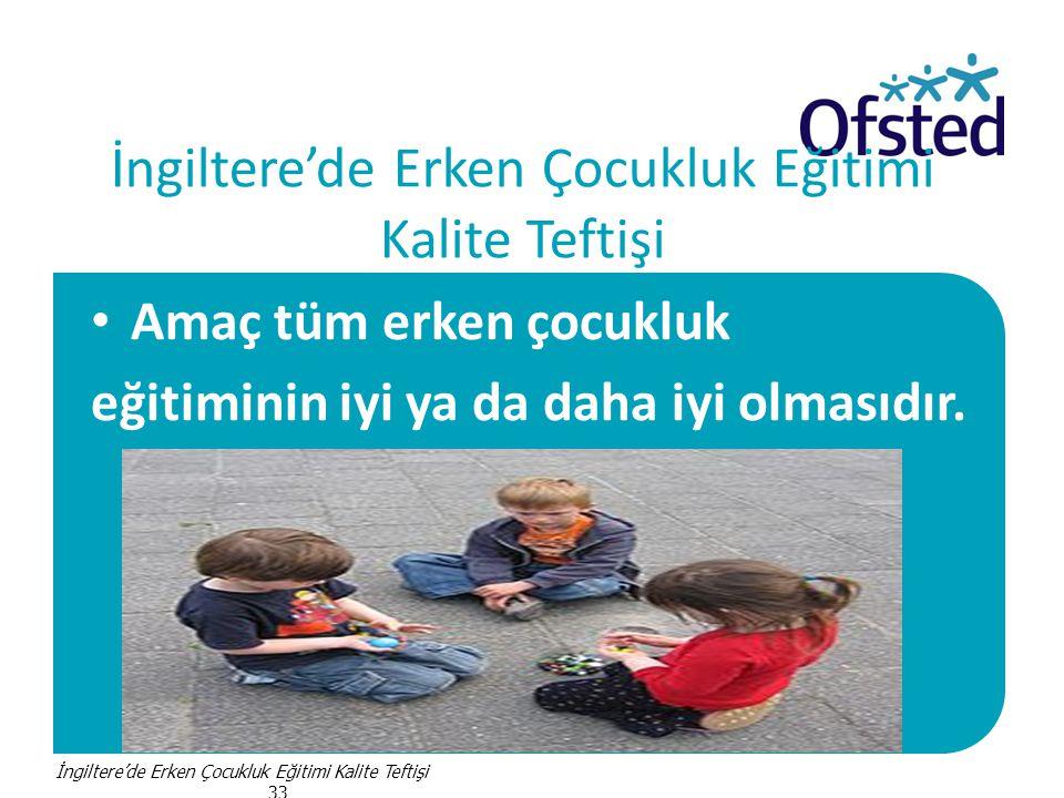 İngiltere'de Erken Çocukluk Eğitimi Kalite Teftişi • Amaç tüm erken çocukluk eğitiminin iyi ya da daha iyi olmasıdır.